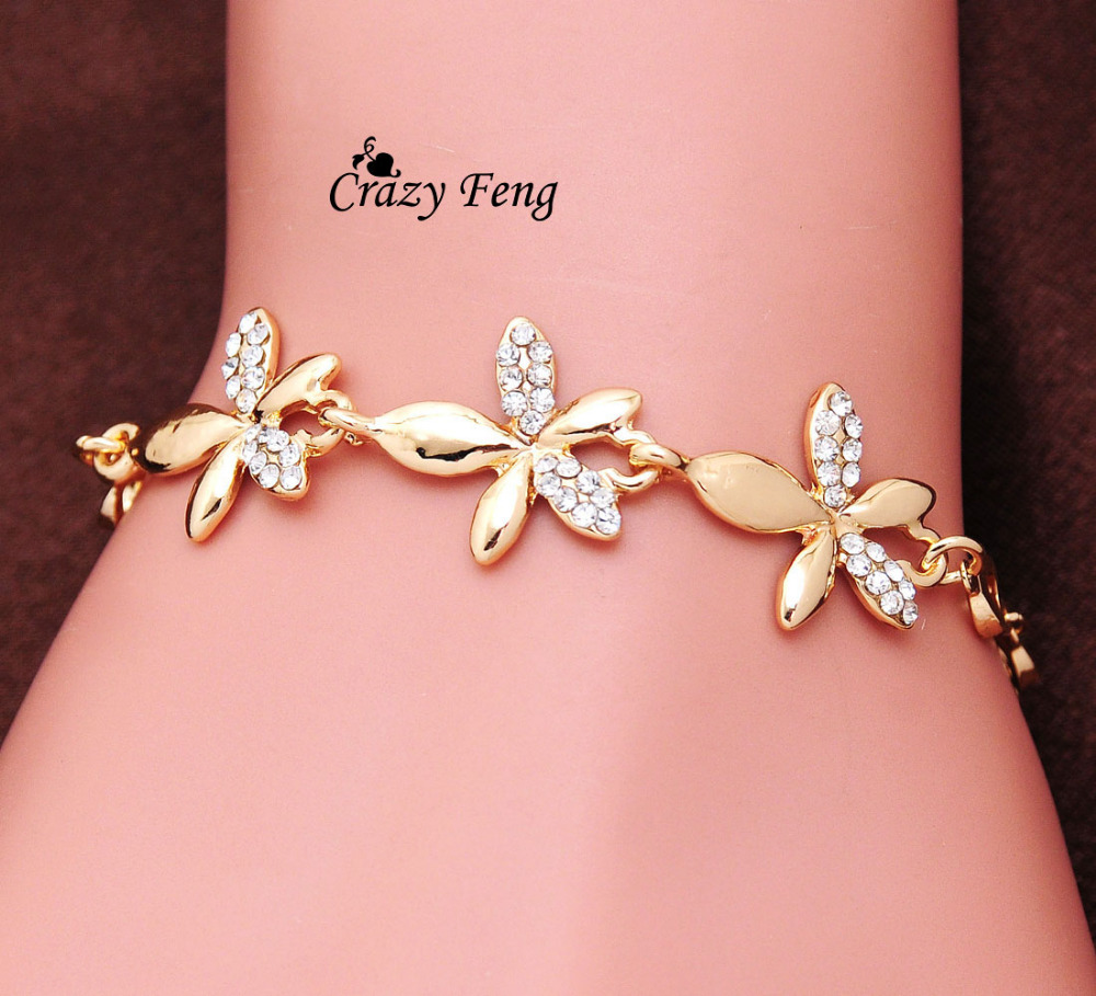 Big Promotion New Women Gold color Link Chain Austrian Crystal ...
