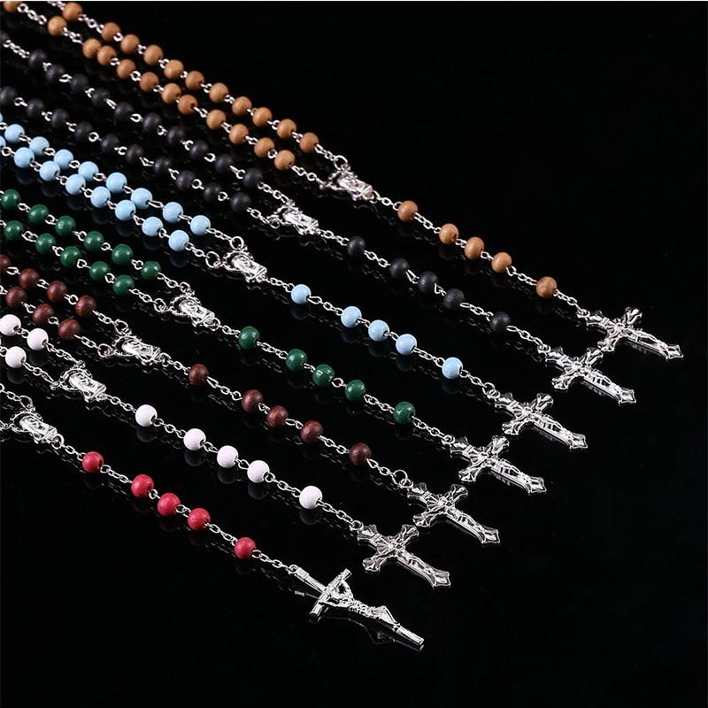 Classic Wood Beads 6mm Rose Perfume Rosary Necklace, Perfume Wooden Beads Pendant Necklace.