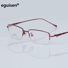 width-138  Half-rimmed pure titanium optical eyeglasses frames female women Diamond myopia anti-radiation spectacle frame lentes