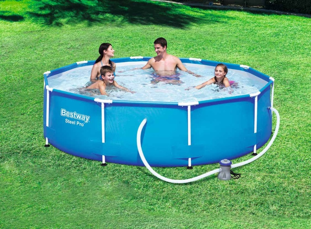 bestway steel pro frame pool - 56408 Bestway STEEL PRO 305*76cm Round Frame Swimming Pool for Family/Dia 10 Ht 30 Outdoor Round Above Ground Pool