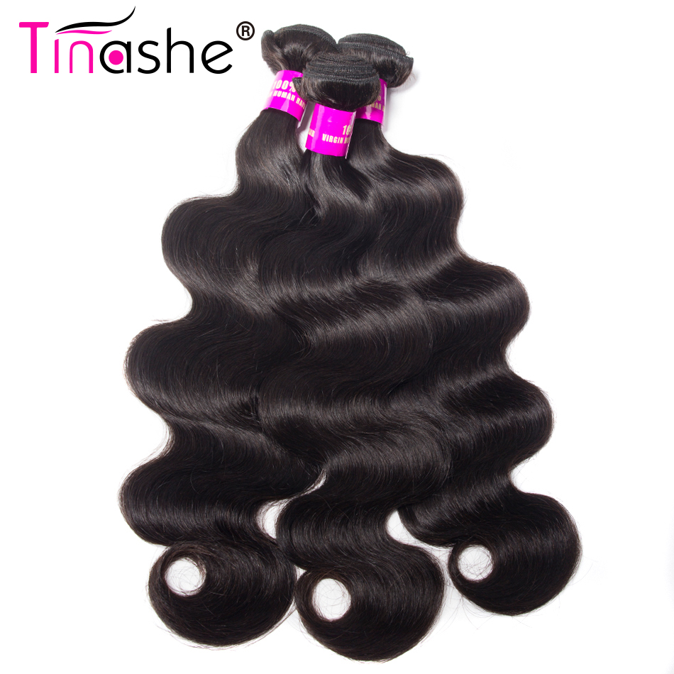 Tinashe Hair Indian Hair Bundles 100% Human Hair 3 Bundles Deals Remy Hair Extensions Natural Black Color Body Wave Bundles