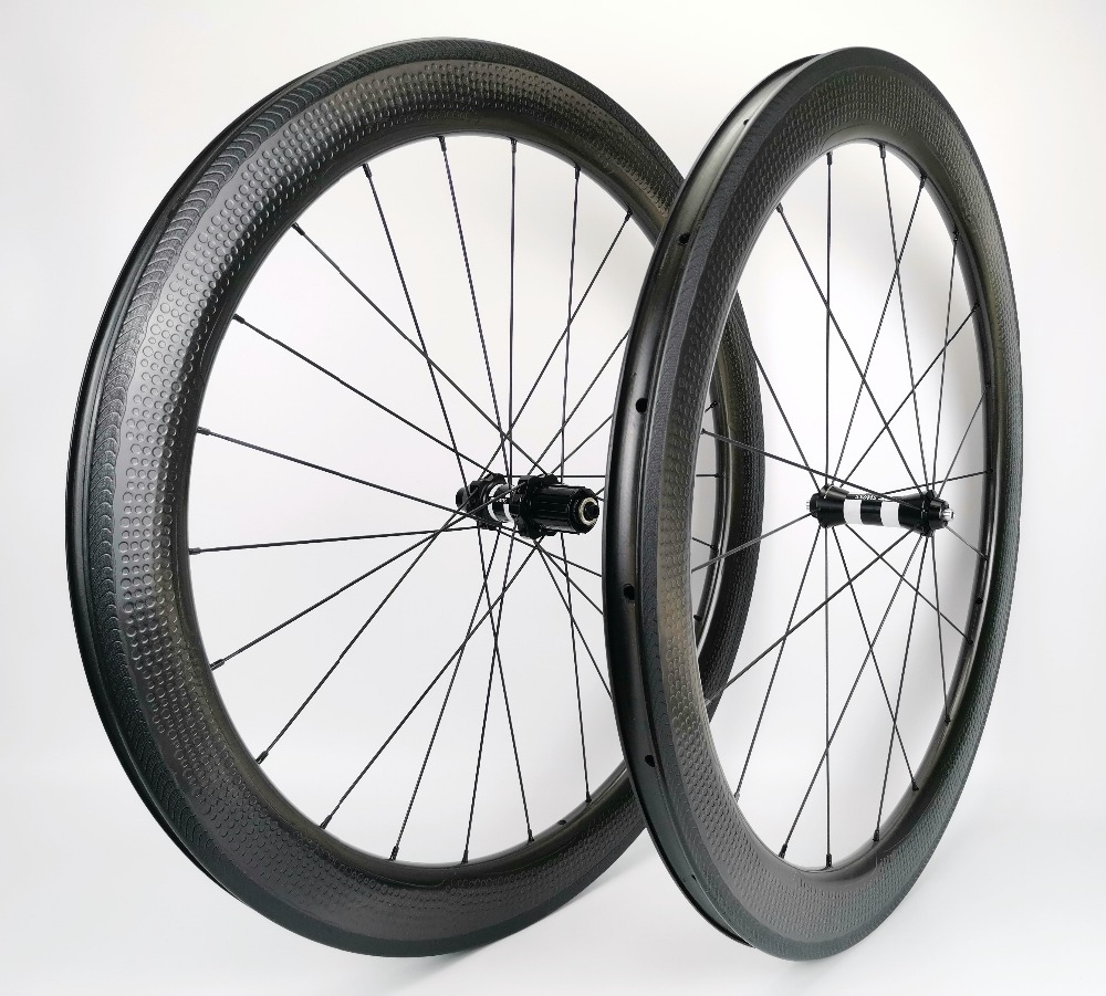 NEW model dimple surface 700C full carbon road bicycle wheelset 26mm width 58mm depth clincher tubular