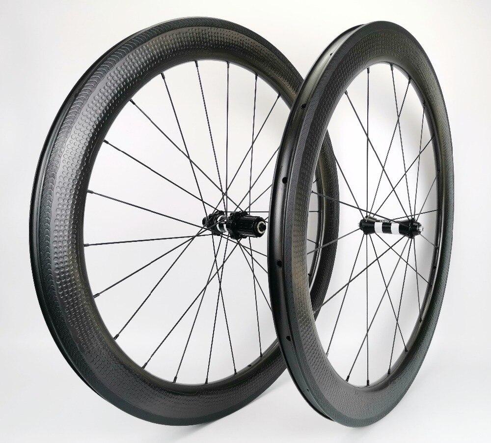 NSW 404 700C superfície covinha rodado da bicicleta da estrada cheia de carbono 58 26mm largura mm profundidade clincher/rodas tubulares