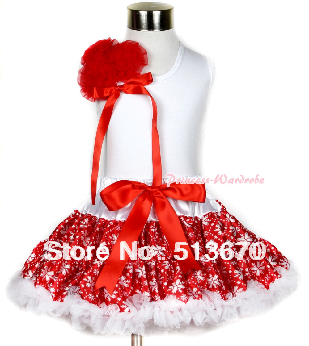 Xmas White Tank Top With a Bunch of Red Rosettes& Red Bow With Red Snowflakes Pettiskirt MAMG711 red black 8 layered pettiskirt red sparkle number ruffle red bow tank top mamg575