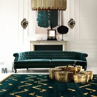 Nordic style INS popular dark green color weave living room rug, Post modern decoration bedside carpet. villa rug