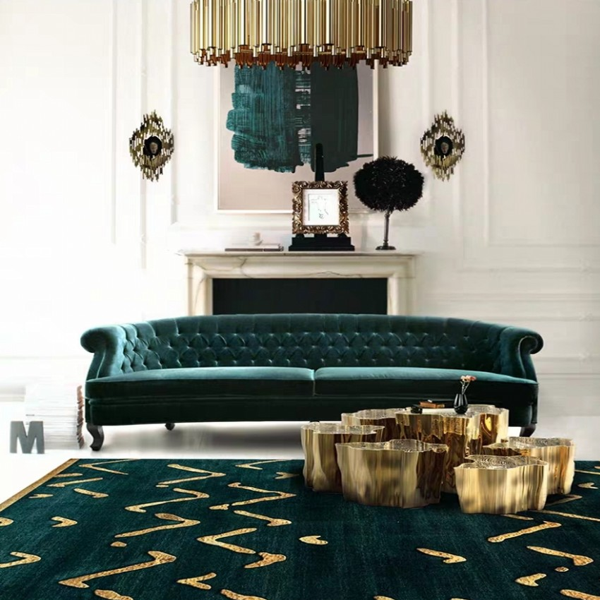 Nordic style INS popular dark green color with metallic weave living room rug, Post modern decoration bedside carpet. villa rug