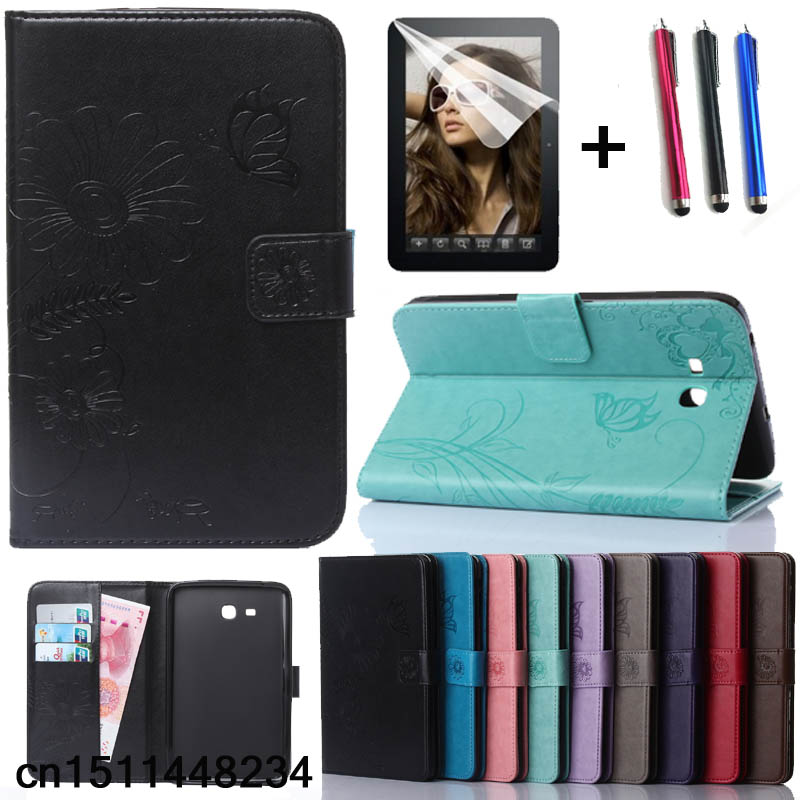 New Fashion high quality Carved PU leather case For Samsung Galaxy Tab A6 7.0 T280 T285 7 Tablet smart case +film +pen universal crazy horse leather case w stand for ipad air sony xperia tablet z 10 inch tablet pc rose
