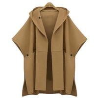 Womens Hooded Cape Coat Poncho Femme Half Batwing Sleeve Vintage Poncho Coat Cape Outerwear Plus Size Winter Woolen Capes Cloak