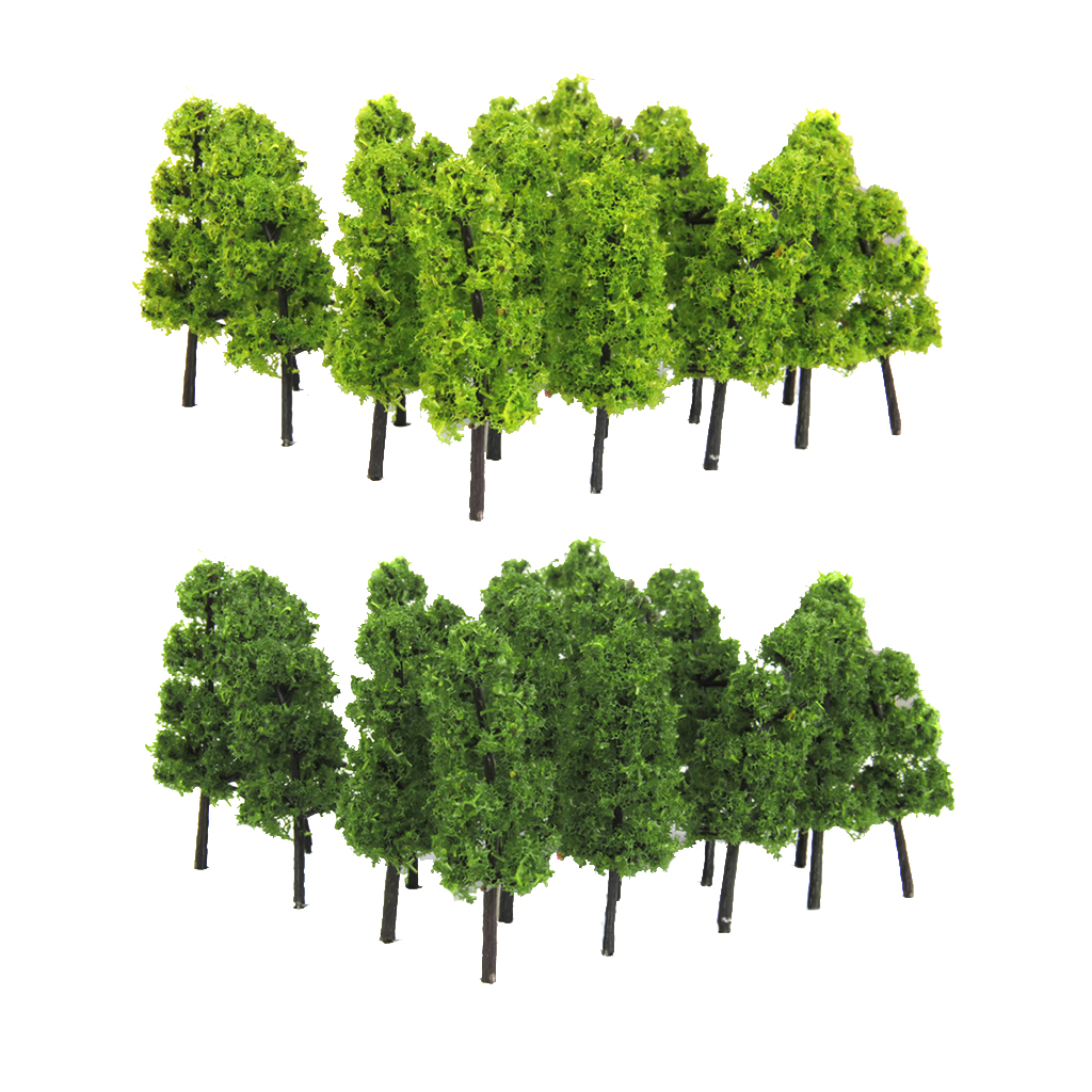 20 Pieces 1/200 Scale Trees Model Train Railroad Scenery Toys Dark And Light Green