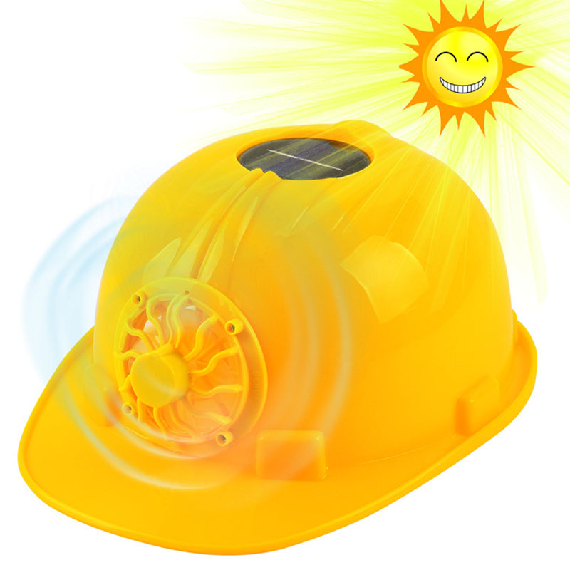 CCGK Yellow Solar Power Safety Helmet Outdoors Working Hard Hat Solar Panel Cooling Fan Construction Workplace Protective Cap classic solar energy safety helmet hard ventilate hat cap cooling cool fan delightful cheap and new hot selling
