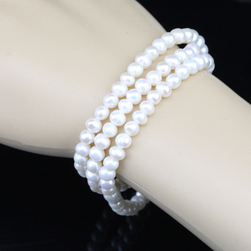 Freshwater Pearl Bracelet 100 Genuine Baroque Nugget Potato Shape 3 Line Multi Strand Chunky In Bracelets From Jewelry