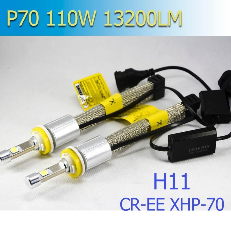 XHP-70 P70 <font><b>LED</b></font> автомобили лампы H7 H8 H9 H11 <font><b>H4</b></font> HB3 HB4 9005 9006 55 Вт <font><b>6600LM</b></font> 5000 К 6000 К фары комплект Автомобильные светодиодные лампы