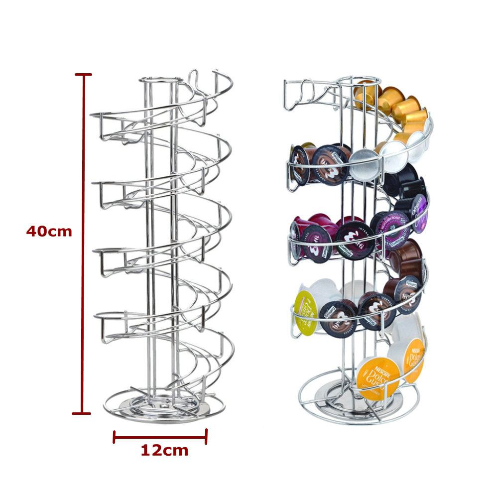 2019 Capsule Coffee Pod Holder Tower Stand Rack Storage Holder Rack Stainless Steel Nespresso Capsule Holder Porta Capsulas Cafe