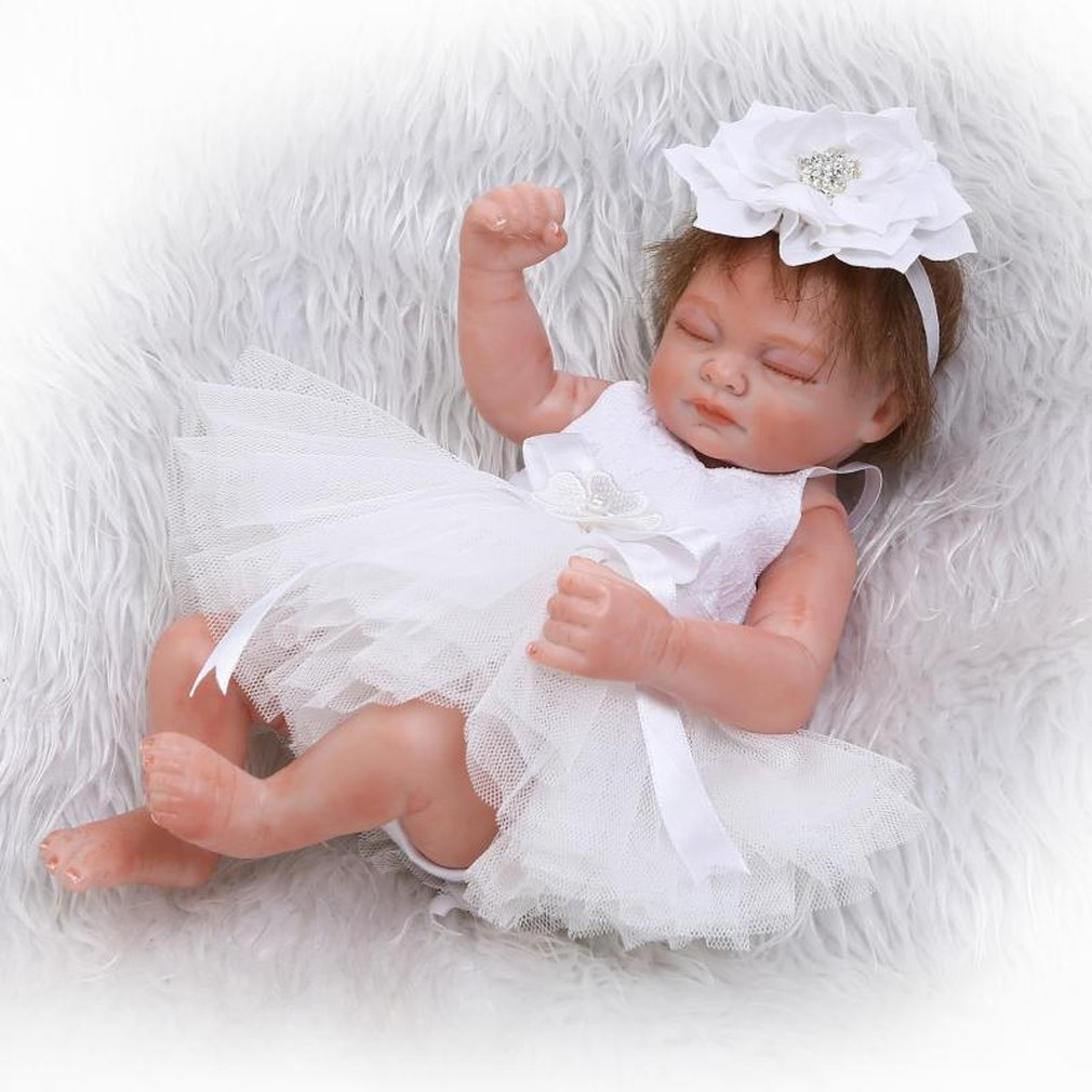 Hot! Purple/White Dress Reborn Baby Doll Toys Full Body