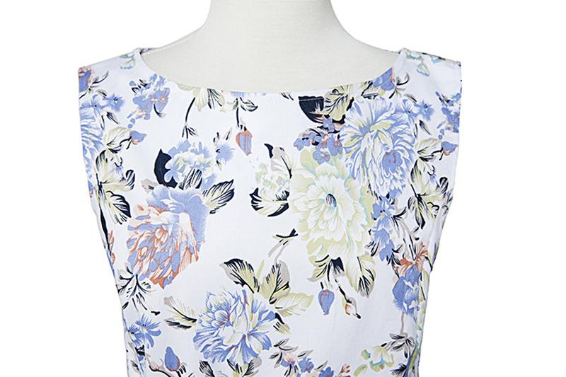 Kostlish Elegant Print Women Summer Dress Sleeveless Audrey Hepburn 50s 60s Vintage Dress With Belt Casual A-Line Ladies Dresses (7)