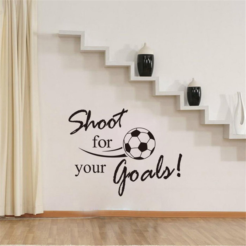 High Quality New Shoot For Your Goals Football Soccer Removable Decal Wall Sticker Home Decor Hot Sale Free Shipping,Dec 13