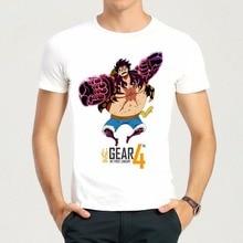 Mens Japan Hot Anime One Piece Luffy Gear 4 Printing T-shirt Luffy Gear 4 Top Tees Shirt