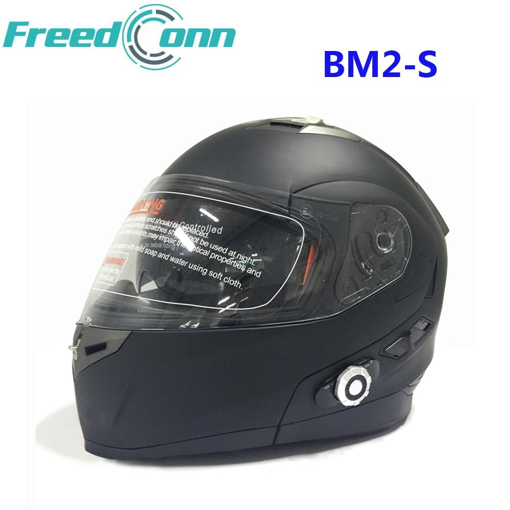 FreedConn BM2-S Bluetooth Motorcycle Helmet Intercom Smart Built in System Dot Standard Helmet 3 Riders BT Talking with FM Radio