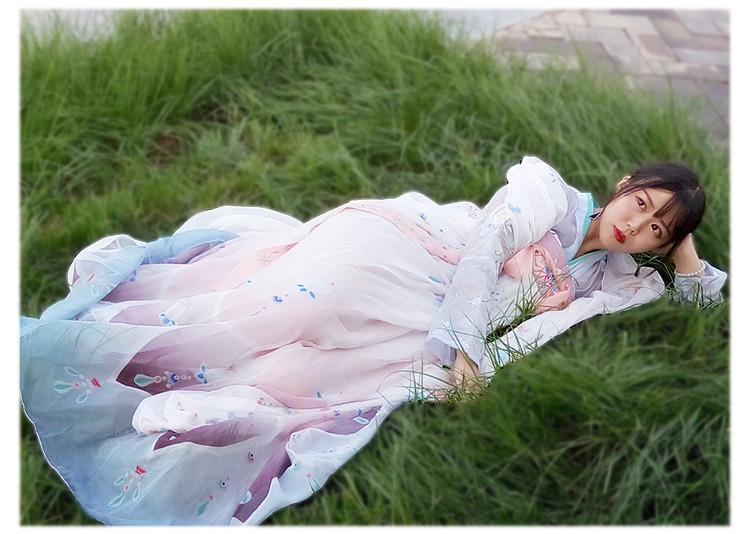 Freeship Chinese traditional clothing gown set Han fu dress