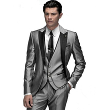 2016 Custom Made Fashion Shiny Silver 3 Piece Men's Slim Fits Suits Wedding Suits Groom Suits Bridal Tuxedos Formal Suits
