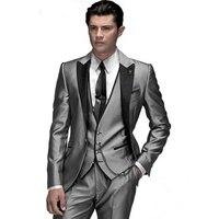 FOLOBE Custom Made Fashion Shiny Silver 3 Pezzo uomo Slim Si Adatta Abiti Da Sposa Sposo Abiti Da Sposa Smoking Formale abiti