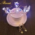 Brillante Estrella Barroco LED Light-up de Cristal Tiara Venda de La Corona y Clip de oreja Pendientes de la Placa de Oro de la Joyería Del Pelo Del Partido para Las Mujeres HG152