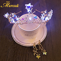 Shiny Baroque Star LED Crown Headband Light-up Crystal Tiara and Ear Clip Earrings Gold Plate Party Hair Jewelry for Women HG152