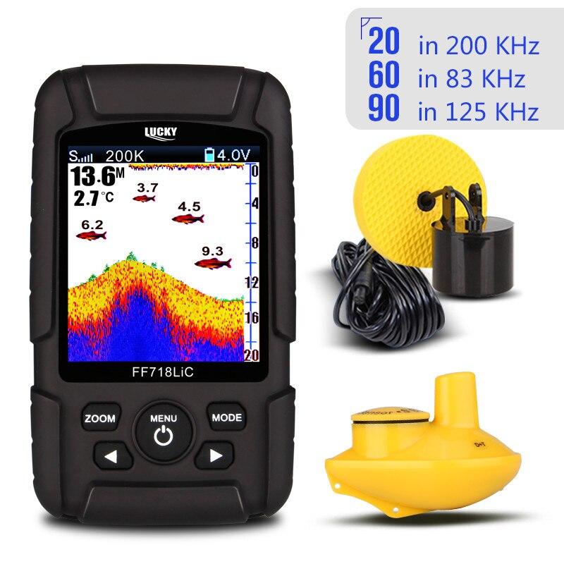 CHANCEUX Portable Sans Fil Fish Finder Sondeur 2.8 Couleur LCD 200 KHz/83 KHz Double Sonar Fréquence 328ft FF718LiCD Échosondeurs