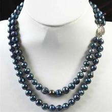 """Naturel culture d'eau douce noir perle diy collier pour femmes environ perles rondes 9-9.5mm bricolage 2 rangées chaîne bijoux 17-18 """"MY5205"""