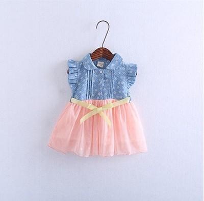 2016 verano nuevo vestido de los bebés de la manga mosca recién nacido turn down collar vestido de las muchachas de malla splice vestido de fiesta chica traje 7-24 M bautizo