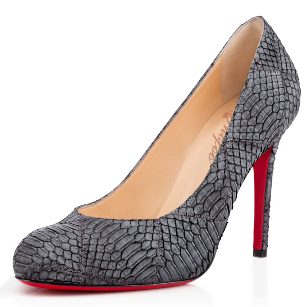 Women Grey Snakeskin Pattern Pleather Point Toe High Heels Pumps font b Shoes b font for