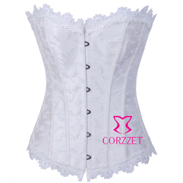 78ccac339 Beautiful Gothic Wedding Bridal Lingerie Underwear Female Strapless Sexy  Push Up Overbust Dobby White Corset Bustier Top Basque
