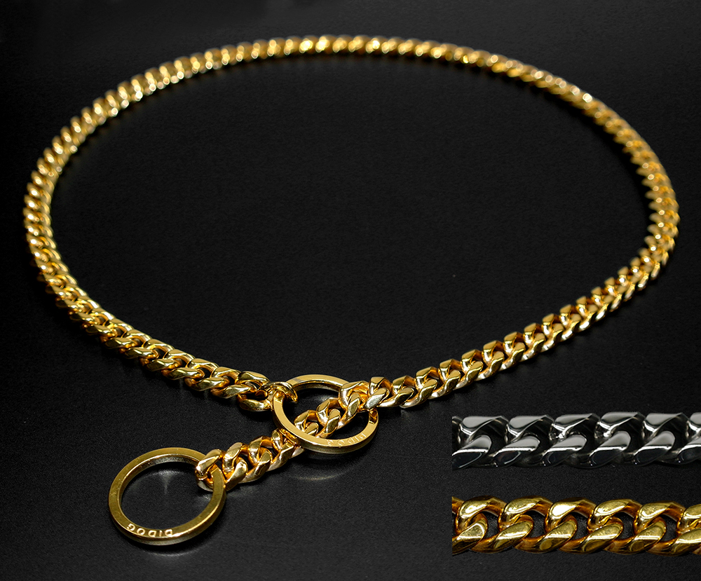 Starkt silverguld rostfritt stål Slip Dog Collar Metal Dogs Träning Choke Chain Collars With Free Whistle