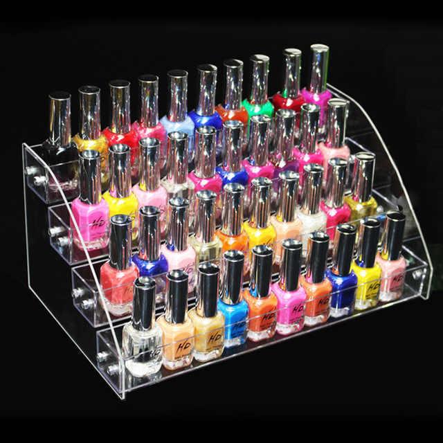 Kosmetik Makeup 4 Tingkatan Bening Acrylic Organizer Mac Lipstik Perhiasan Display Stand Pemegang 40 Botol Nail Polish Rack