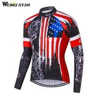 Weimostar Bán Buôn USA đội ngũ chuyên nghiệp Polyester Xe Đạp Jersey Men mtb Long Sleeve Xe Đạp Jersey Mùa Thu Breathable Cycling Quần Áo