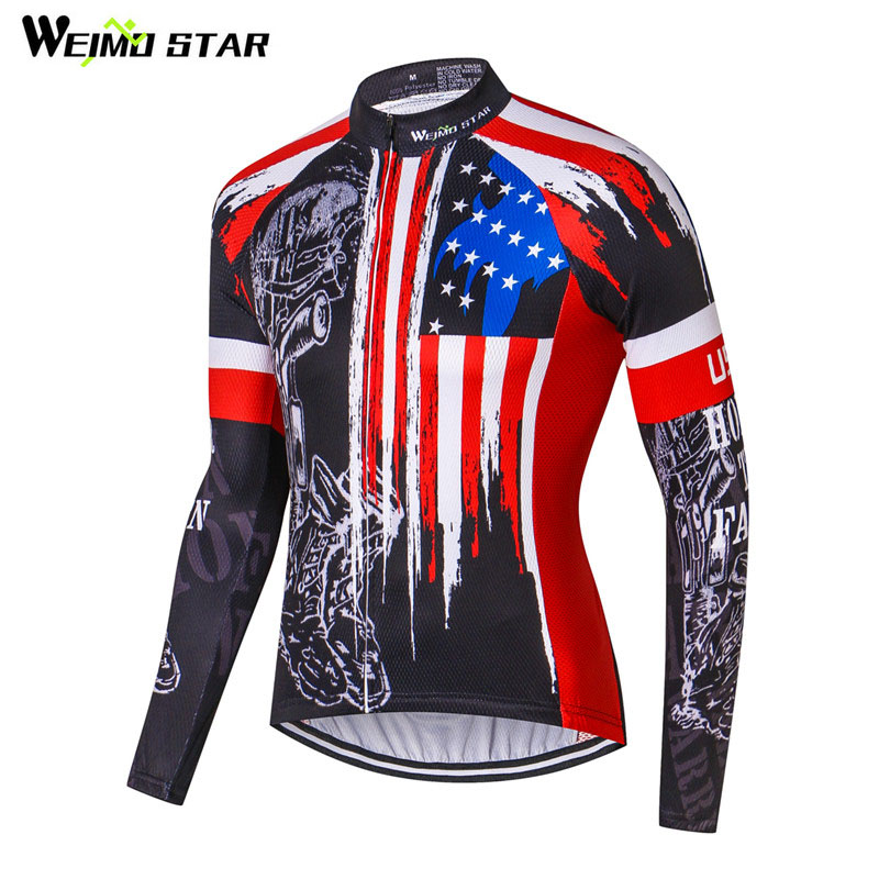 f21b49c52 Weimostar Wholesale USA pro team Polyester Cycling Jersey Men mtb Long  Sleeve Bike Jersey Autumn Breathable Cycling Clothing-in Cycling Jerseys  from Sports ...