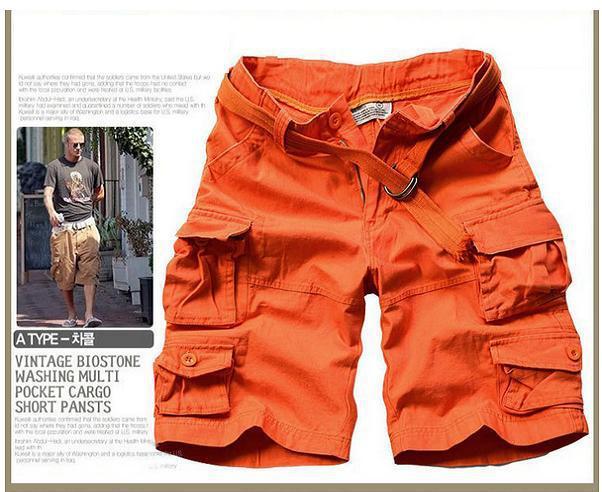 Новинка, Летний стиль, мужские повседневные армейские камуфляжные шорты Карго, хлопковые короткие штаны, военные камуфляжные модные шорты, мужские пляжные шорты - Цвет: Оранжевый