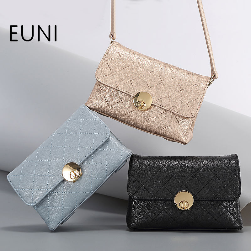 ФОТО EUNI Brand Cowhide Leather Women Bags Fashion Exlusive Leather Bags For Women Shoulder&Crossbody Bag Fashion Solid Flap Bag S45