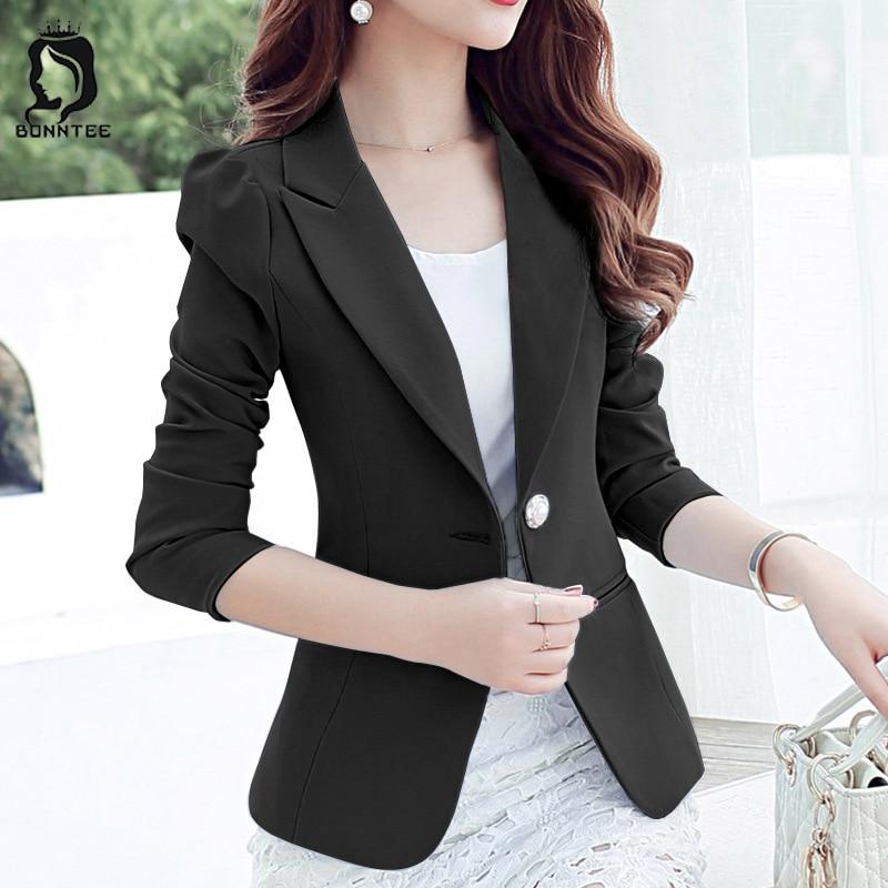 Fashion Solid Women Blazer Womens Long Sleeve Single Button Slim Tops Female Blazers Females Casual Korean Style Elegant Ladies