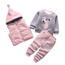 3 pçs/set inverno Roupa Das Crianças Define algodão Snowsuit Engrossar Quente Camisola dos cervos Do Natal Terno para meninas menino Roupa Dos Miúdos
