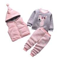 3pcs/set winter Children Clothing Sets cotton deer Christmas Snowsuit Thicken Warm Sweatshirt Suit for girls boy Kids Clothes