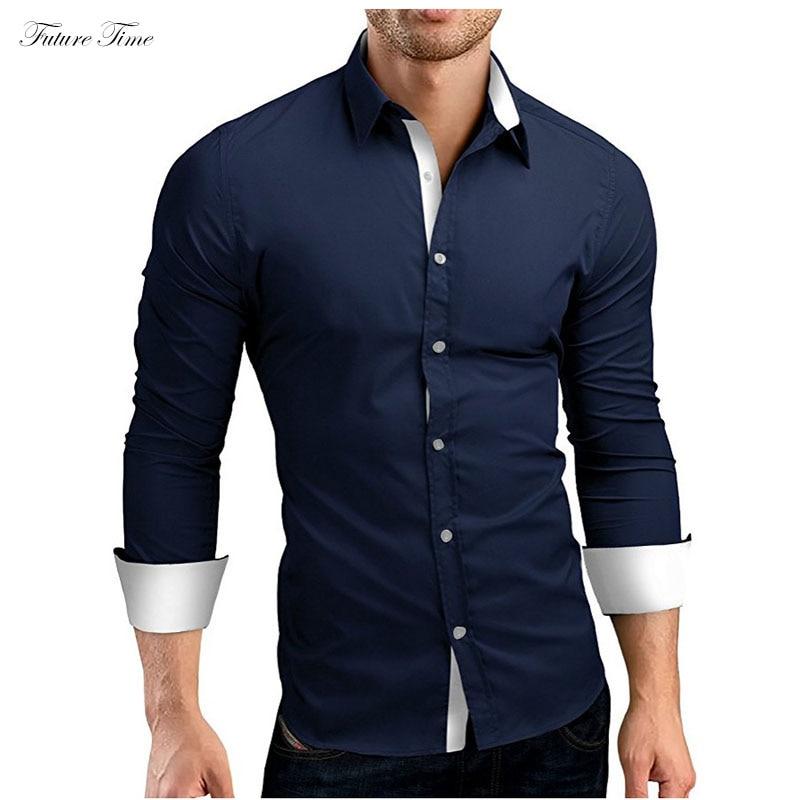 Men Shirt Brand 2019 Spring Male High Quality Long Sleeve Shirts Casual Hit Color Slim Fit Black Man Business Shirts C1758