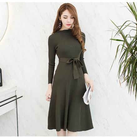 2018 Black Sexy With Sashes Knitted Dress Women Slim Casual Autumn Winter Long Sleeve High Waist Green Sweater Dresses RQ509