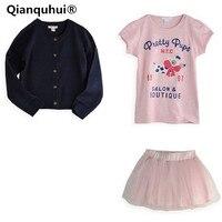Qianquhui Printemps Et Automne Style 3 Pièces Ensemble Filles Tenues Bébé Vêtements T-shirt Manteau Jupe Tutu Outfit Robe 0-5 Ans