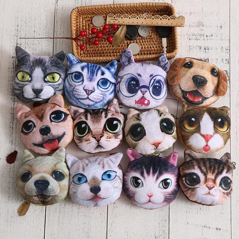 Creative New Bag Korean Ladies Coin Purse Cartoon Cat Dog Face Small Animal Money Bag Portable with Key Bag 12 Colors
