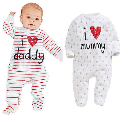 baby rompers 2016 Newborn I love mummy & daddy Baby Costume Girls Boy Jumpsuit clothing Spring/Winter Romper Body BABY CLOTHES