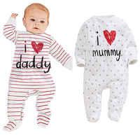 Macacão de bebê 2016 recém-nascido eu amo mamãe & papai bebê traje meninas menino macacão roupas primavera/inverno macacão corpo do bebê roupas