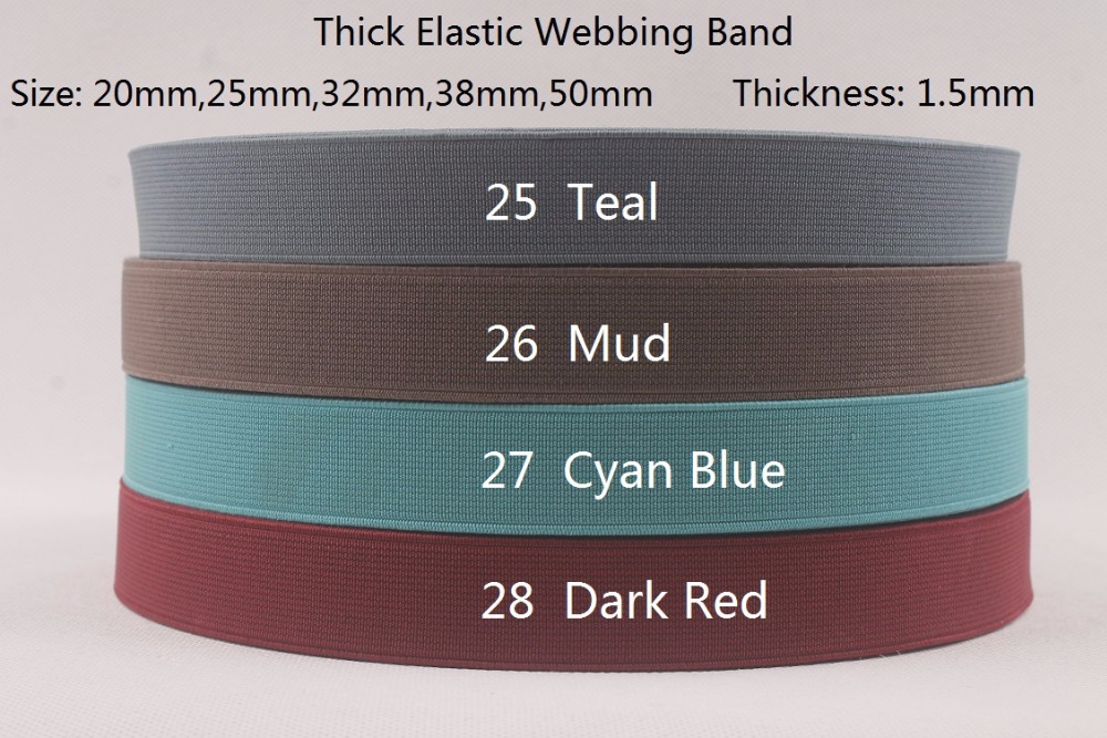 <font><b>25mm</b></font> wide 10 yards a lot thick strenth high quality <font><b>elastic</b></font> webbing band For DIY Sewing Clothes( Teal,Mud,Cyan Blue,Dark Red)) image