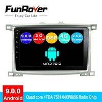 Funrover 2 din Android 9,0 автомобильный dvd для Toyota Land cruiser 100 LC 100 Lexus LX4 радио gps навигационная система, стереомагнитола 2.5D DSP