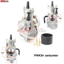 цена на PWK 34 Carb 34mm Racing Flat Side Carburetor W/ Intake Boot For 2T/ 4T Gy6 Engines Motorbike ATV